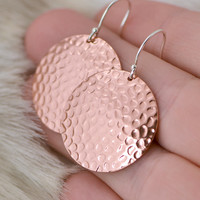 SALE Copper Hammered Earrings - Copper Circle Earrings - Dangle Earrings - Copper Jewelry - Hammered Texture - Circle Disk Earrings