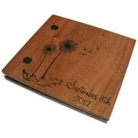Wedding Wooden Album - Scrapbook  Wood Burnt  12&quot; x 12&quot; - With Wedding Date