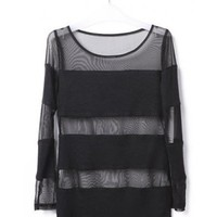 Women Spring New Long Sleeve Lace Net Black Short Blouses One Size@TS111005b $22.73 only in eFexcity.com.