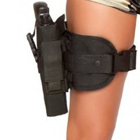 Black Army Babe Gun Leg Holster Costume Accessory