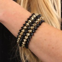 Gold Black Two Tone High Polish Metal Spike Bracelet