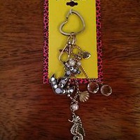 Betsey Johnson Sea Excursion Nautical Anchor Seahorse Handbag/Key Chain Fob