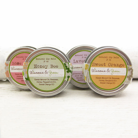 Wedding Favors - Natural Lip Balm Sampler - Honey Herbal Balms - Rose Garden, Honey Bee, Sweet Orange and Lavender - Bridesmaid Special