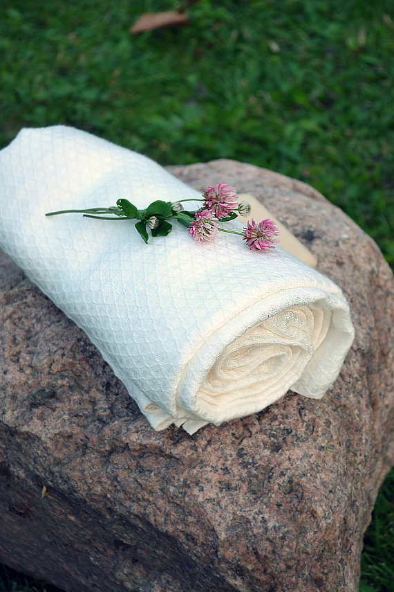 2 Soft  White Linen Towel 100x145cm / 39.4 x 57 inches