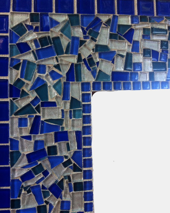 Blue Mosaic Mirror, Custom