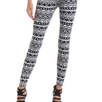 Cotton Tribal Print Leggings by Charlotte Russe - Navy Blue Cmb