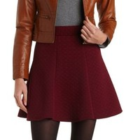 Quilted Houndstooth Skater Skirt by Charlotte Russe - Berry