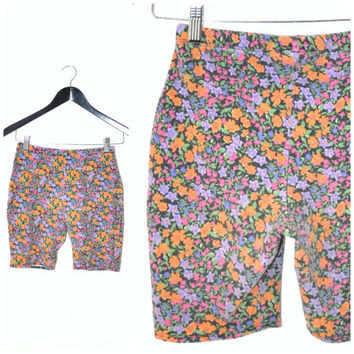 floral SPANDEX bike shorts / vintage 80s micro flower print NEON high waisted club shorts small medium