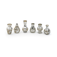 Etched Silver Mini Bud Vases - Set of 6