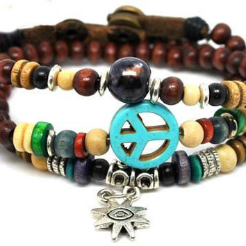 10%OFF Discount Blue Anti-war peace peaceful Brown Wooden Beadeds Wrap Bracelet,  Colorful Jewelry Beaded Bracelets 584S1