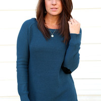 Teal Elbow Patch Knit