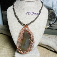 Copper wire Crochet Brown Agate Stone Pendent on Brown wire wrapped Leather Cord