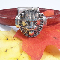 Lion Leather Bracelet in Burnt Orange