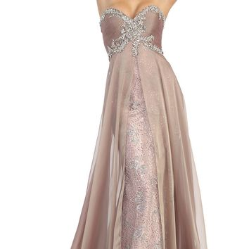 A beautiful strapless Lace applique sequins mesh dress