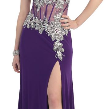 A beautiful strapless lace applique mesh dress with high front slit