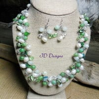 Amazonite Stone Pearl Shell and Crystal Wire crochet Necklace Earring Set