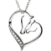 "Sterling Silver .03 CTW Diamond Horse 18"" Necklace - Sterling Silver"
