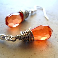 Rust Prism Earrings Silver Wire Wrapped Orange Topaz by waterwaif