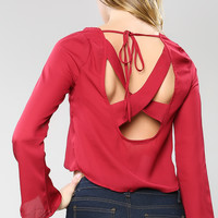 Back Cutting Point Crop Blouse