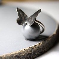 The Black Butterfly Effect- Butterfly Sterling Silver Ring- Oxidized- Pinky Finger Ring- Dark Romantic- Rock Chic