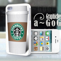 Iphone 4 case, Starbucks Coffee Cup design, custom cell phone case, Original design