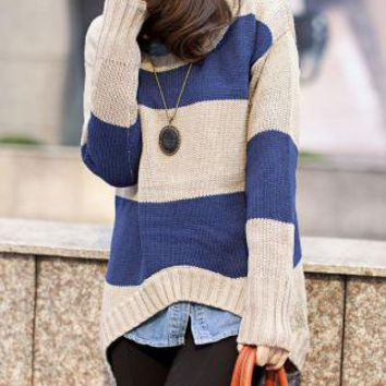 Wide Stripes Curved Hem Loose Jumper