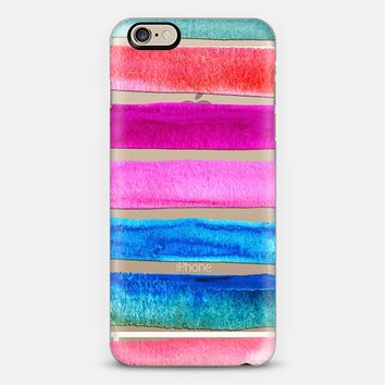 Tropical Beach Stripes - watercolor brights on transparent iPhone 6 case by Micklyn Le Feuvre | Casetify