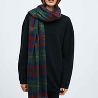 Oversized Brushed Plaid Scarf in Burgundy - Urban Outfitters