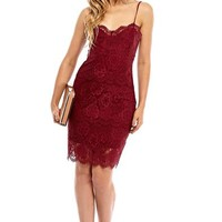 Tonia Lace Cami Dress in Burgundy
