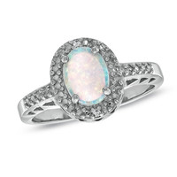 Oval Lab-Created Opal and Diamond Accent Frame Ring in Sterling Silver