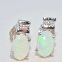 Genuine Opal Oval Stud Diamond Earrings in Sterling Silver White Gold Quality
