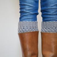 Crochet Boot Cuffs with Cashmere in Grey/Gray