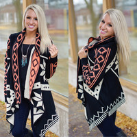 Easy Does It Cardi (Black / Pink) - Piace Boutique