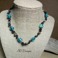 Copy of Leather Knotted Green Glass Lampwork Bead Necklace