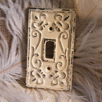 Light Switch Cover -Single Switch Decorative Plate- Ivory Cream - Aged and Distressed Chic -Cast Iron-Fleur de Lis and Scroll Pattern