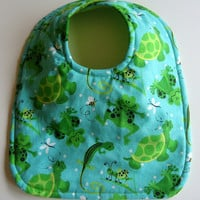Reversible Baby Bib - Frogs, Turtles & Bugs