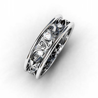 Diamond ring, 18k, White gold wedding band, filigree ring, lace,  Diamond wedding band, vintage style, unique, wedding ring