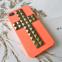 Orange iPhone 4 4S hard case cover with bronze cross pyramid stud for iPhone 4 Case, iPhone 4S Case, iPhone 4 GS Case -012