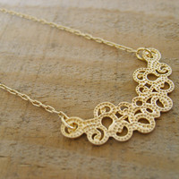 Peshka- Necklace inspired by Ancient lace-design in gold, gold necklace