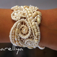 Vintage Lace Bridal CUFF Beaded Hand Embroidered Bracelet DAFNA