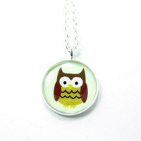 Owl Necklace - Brown Cream Kawaii C.. on Luulla