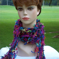 Fringe Scarf for Women Blue, Yellow, Purple, Green, Fiber Arts