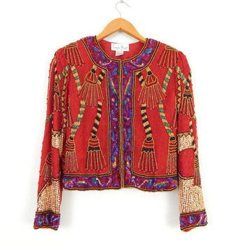 Vintage 80s Cropped Red Sequin Jacket - Colorful Luxe Women's Lawrence Kazar Beaded Silk Trophy Evening Jacket - Size Petite Small