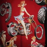 JOHNNY SUEDE HAWAIIAN SHIRTS GIRLS ON BIKE!SIZE 2XL! COTTONBLENDS!MADE IN USA