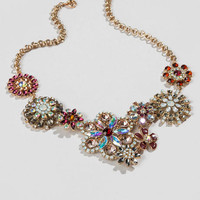 Cora Crystal Statement Necklace In Red