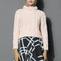 Rolling Chunky Cable Sweater in Pink Pink S/M