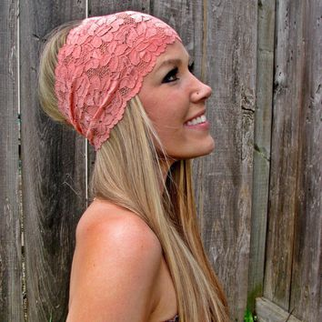 Wide Stretch Lace Headband In Coral.. on Luulla