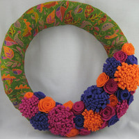 Fall Autumn Wreath with Felt Flowers