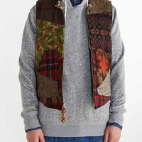 Monitaly Patchwork Quilted Vest- Brown