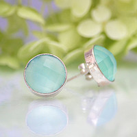 10% off Faceted Aqua Seafoam Chalcedony  Sterling Silver bezel set Stud Post Earrings